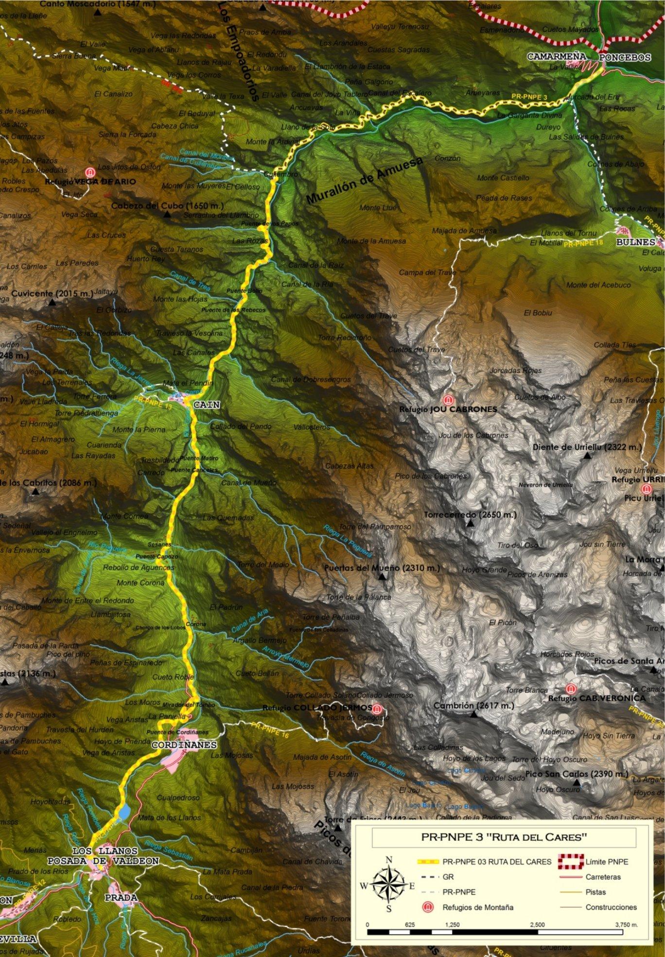 Ruta Del Cares Mapa.Jaire Canoas